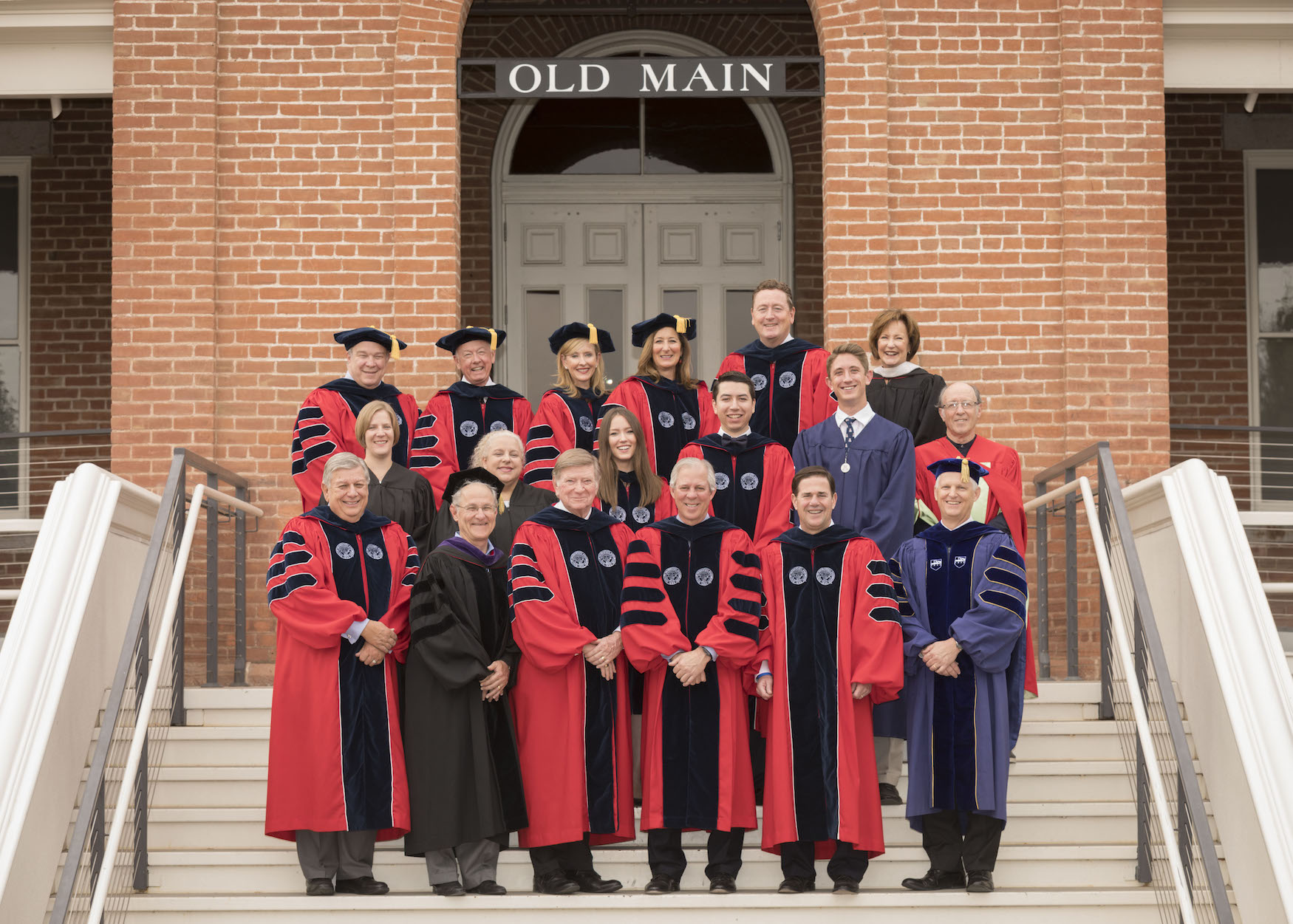 Platform Party and Dr. Robbins outside Old Main