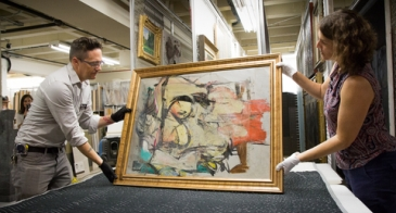 """The return of the Willem de Kooning painting """"Woman-Ochre"""" to its place in the abstract expressionist collection at the UA Museum of Art was an unexpected highlight of 2017. (Photo: Bob Demers/UANews)"""
