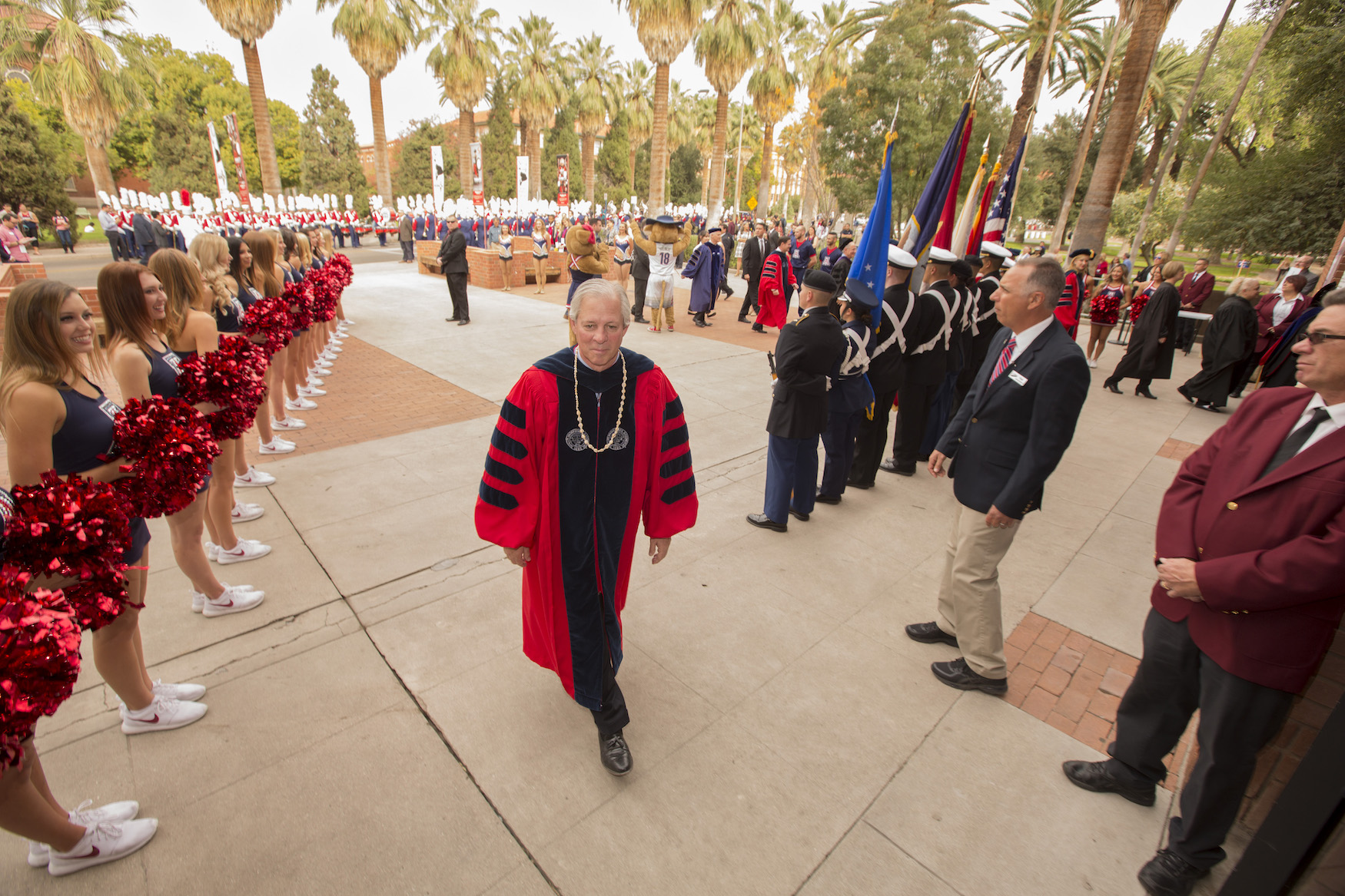 Dr. Robbins follows the Procession into Centennial Hall